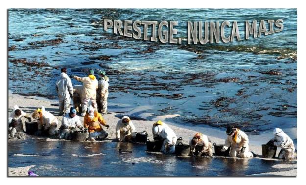 Prestige.Chapapote en playa.