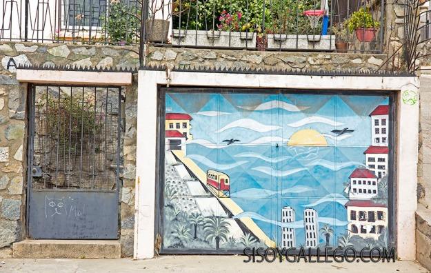 9.Valparaiso. Mural en un garage.